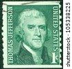 USA - CIRCA 1950: A stamp shows image portrait Thomas Jefferson was the third President of the United States and the principal author of the Declaration of Independence (1776), circa 1950. - stock photo