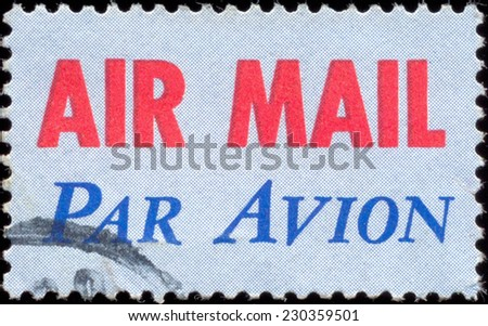 USA-CIRCA 1973: A United States Airmail postage sticker, showing red AIR MAIL with blue PAR AVION, denoting mail is for international airmail and not USA domestic airmail, circa 1973. - stock photo