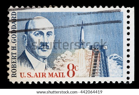 USA - CIRCA 1964: A used postage stamp printed in United States shows a portrait of Dr. Robert Goddard the engineer and inventor who created the world's first liquid-fueled rocket, circa 1964 - stock photo