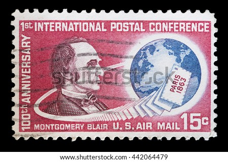 USA - CIRCA 1963: A used postage stamp printed in United States shows a portrait of Montgomery Blair to commemorate the 100 Years of the First International Postal Conference, circa 1963 - stock photo