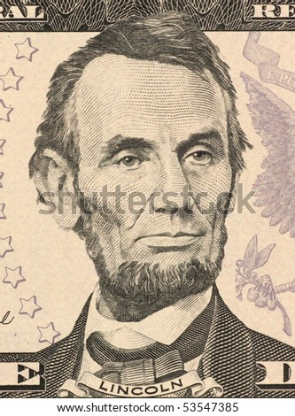 USA - CIRCA 2006: Abraham Lincoln on 5 Dollars 2006 Banknote from U.S.A. 16th President of the United States from March 1861 until his assassination in April 1865. - stock photo