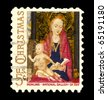 USA - CIRCA 1966-  American Christmas postage stamp shows Madonna and Child based on a painting by the Flemish artist Hans Memling, circa 1966. - stock photo