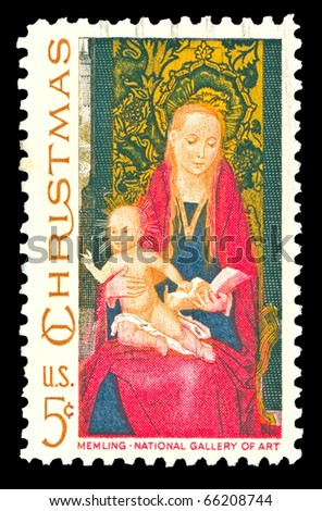 USA - CIRCA 1967-  American Christmas postage stamp shows Madonna and Child based on a painting by the Flemish artist Hans Memling. Circa 1967. - stock photo