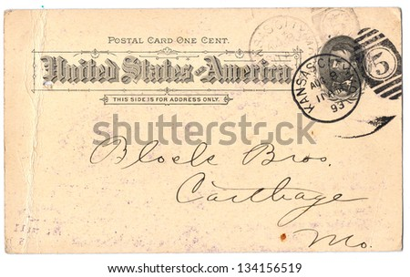 USA �¢?? CIRCA 1893: An antique used United States postcard and postage stamp with inscriptions �¢??United  States of America. Kansas�¢?��, series, circa 1893