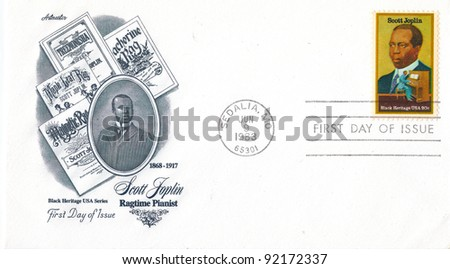 """USA - CIRCA 1983:  An old used USA envelope and stamp issued in honor of the great American jazz pianist Scott Joplin with inscription """" Scott Joplin - Ragtime Pianist 1868 - 1917""""; series circa 1983 - stock photo"""