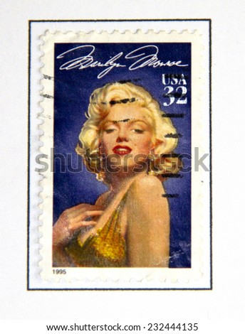 USA - CIRCA 1995- Marilyn Monroe (1926-1962) American stamp. The Hollywood actress starred in 30 films. The design is by Michael Deas, circa 1995.  - stock photo