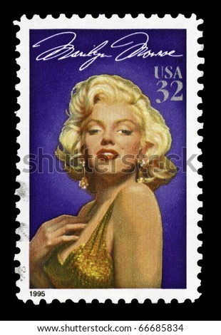 USA - CIRCA 1995- Marilyn Monroe (1926-1962) American stamp. The Hollywood actress  starred in 30 films. The design is by Michael Deas, circa 1995.