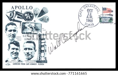 USA - CIRCA October 11th 1968: Nasa, US postal service first day cover with hand written signature  of Walter Cunningham,  commemorating: Apollo 7 spaceship  Project.