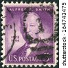 """USA - CIRCA 1945: Postage stamp printed in the USA, a portrait 42nd Governor of New York, Alfred Emanuel """"Al"""" Smith, circa 1945 - stock photo"""