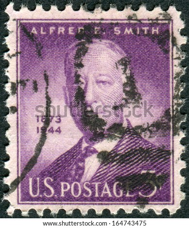 "USA - CIRCA 1945: Postage stamp printed in the USA, a portrait 42nd Governor of New York, Alfred Emanuel ""Al"" Smith, circa 1945"