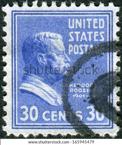 """USA - CIRCA 1938: Postage stamp printed in the USA, a portrait of 26th President of the United States, Theodore """"TR"""" Roosevelt, Jr., Circa 1938 - stock photo"""