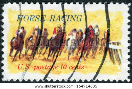 "USA - CIRCA 1974: Postage stamp printed in the USA, dedicated to the 100th anniversary of racing on horseback ""Kentucky Derby"" shows Horses Rounding Turn, circa 1974 - stock photo"