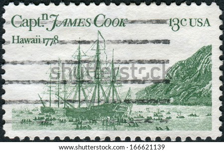 USA - CIRCA 1978: Postage stamp printed in the USA, dedicated to the 200th anniversary of the landing of James Cook in Hawaii and Alaska, shows a Resolution and Discovery by John Webber, circa 1978 - stock photo