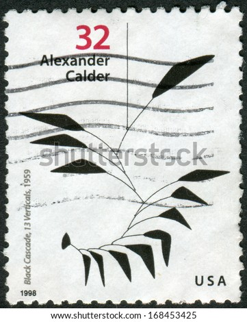 USA - CIRCA 1998: Postage stamp printed in the USA, dedicated to the 100th anniversary of the birth Alexander Calder, shows a picture of Black Cascade, 13 Verticals, 1959, circa 1998 - stock photo
