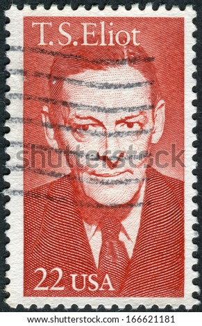 USA - CIRCA 1986: Postage stamp printed in the USA, shows a portrait of an American poet T. S. Eliot, circa 1986 - stock photo