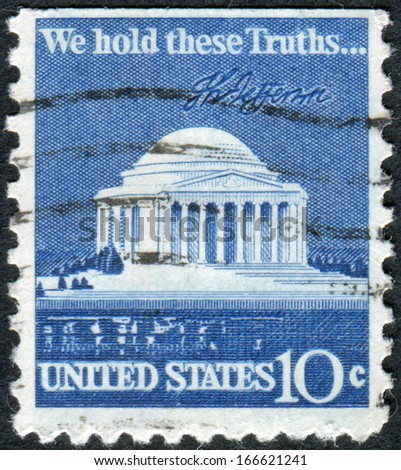 USA - CIRCA 1973: Postage stamp printed in the USA, shows the Thomas Jefferson Memorial is a presidential memorial in Washington, DC, circa 1973 - stock photo
