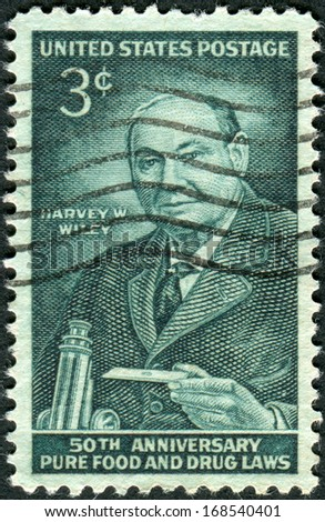 USA - CIRCA 1956: Postage stamp printed in USA, dedicated to the 50th anniversary of the Pure Food and Drug Laws, shows a portrait of Harvey Washington Wiley, circa 1956