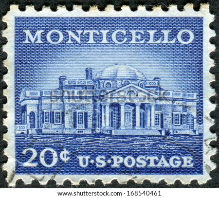 USA - CIRCA 1956: Postage stamp printed in USA, shows Monticello - the primary plantation of Thomas Jefferson, the third President of the United States, circa 1956 - stock photo