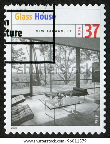 USA - CIRCA 2005: Postage stamp printed in USA shows the image of Philip Johnson Glass House (New Caanan, Connecticut). Modern American Architecture, circa 2005 - stock photo