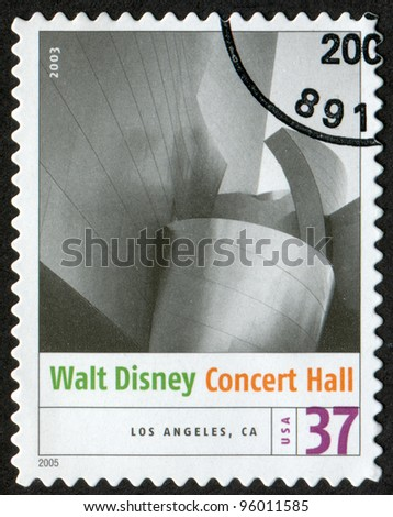 USA - CIRCA 2005: Postage stamp printed in USA shows the image of Walt Disney Concert Hall (Los Angeles, CA). Modern American Architecture, circa 2005 - stock photo