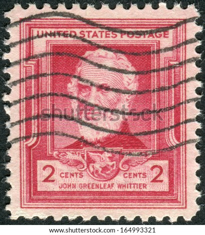 USA - CIRCA 1940: Postage stamps printed in USA, shows a portrait of an influential American Quaker poet John Greenleaf Whittier, circa 1940 - stock photo