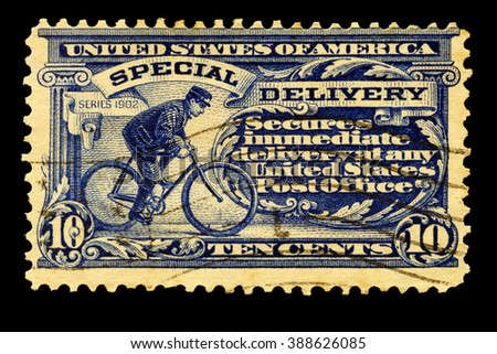 USA-CIRCA 2016. Postal stamp printed in the United States in 1902 shows messenger on bicycle special delivery service, circa 2016