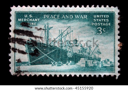 USA - CIRCA 1940s: A stamp printed in the USA devoted US merchant marine, circa 1940s