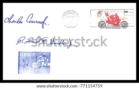 USA - CIRCA September 12th1966: Nasa, US postal service first day cover with hand written signature  of Pete Conrad, Richard F. Gordon, commemorating: Gemini 11 spaceship  Project.