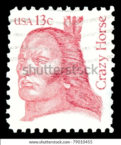 USA - CIRCA 1982- shows Crazy Horse (1840-1877)  an Oglala Lakota Sioux leader, part of the Great Americans Issue, circa 1982. - stock photo