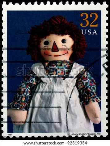 "USA - CIRCA 1997 : Stamp printed in the USA shows Johnny Gruelle's ""Raggedy Ann"" doll, circa 1997 - stock photo"