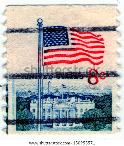 USA - CIRCA 1978: stamp printed in United states shows waving the national flag of the United States against the background of the White House, circa 1978 - stock photo