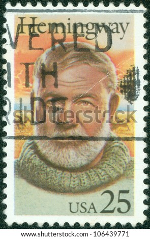 USA - CIRCA 1994: stamp printed in USA show shows Ernest Hemingway, circa 1994 - stock photo