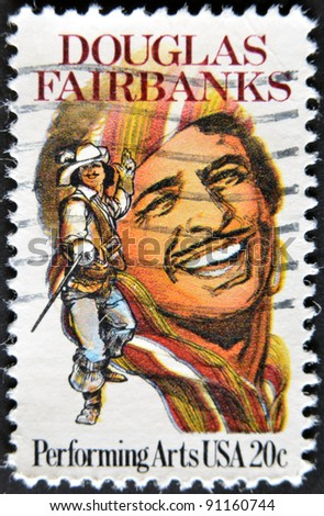 USA - CIRCA 1999 : stamp printed in USA shows Douglas Fairbanks an American actor, circa 1999 - stock photo