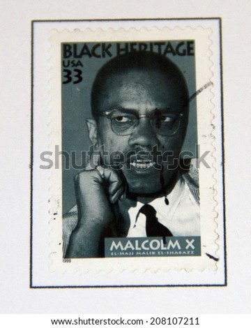 USA - CIRCA 1999 : stamp printed in USA shows Malcolm X African-American Muslim minister, black heritage, circa 1999  - stock photo