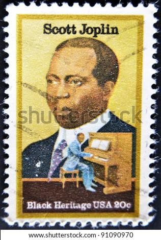 USA - CIRCA 1997 : stamp printed in USA shows Scott Joplin American composer and pianist, black heritage, circa 1997 - stock photo