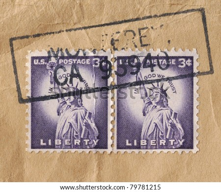 USA – CIRCA 1954: Stamp printed in USA, shows the Statue of Liberty, an icon of freedom, which stands in Liberty Island, New York City, circa 1954. - stock photo