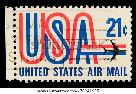 USA - CIRCA 1980-th: Stamp printed in USA shows Symbols of American airmail, circa 1980-th - stock photo