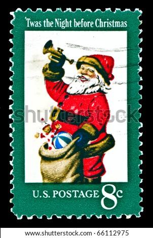USA - CIRCA 1972:  The first U.S. Christmas postage stamp to show Santa Claus; Twas the Night before Christmas.  Design by Stevan Dohanos. circa 1972 - stock photo