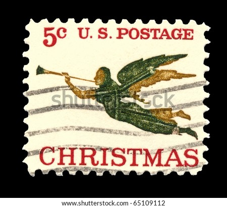 USA - CIRCA 1965 - This American  Christmas postage stamp shows an 1840 weathervane (the angel Gabriel and horn) on the People's Methodist Church, Newburyport, Massachusetts. - stock photo