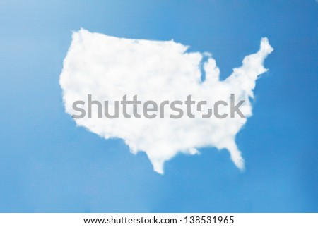 usa cloud map - stock photo