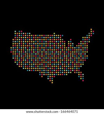 USA colorful dot map. Vector icon - stock photo