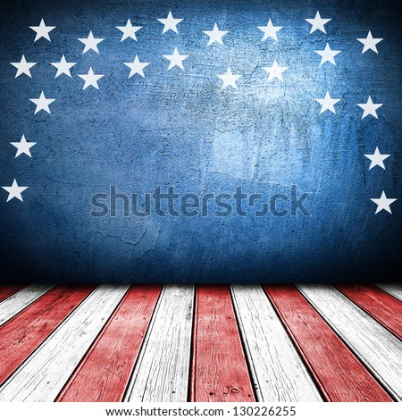 USA colors empty interior room with free space for text or product displays. - stock photo