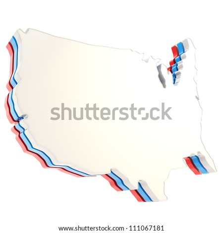 USA country shaped copyspace three layer dimensional plate isolated on white background - stock photo