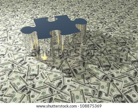 USA Currency Puzzle - stock photo