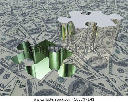 USA Currency with Puzzle Piece Removed - stock photo