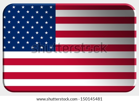 USA 3D button on white background