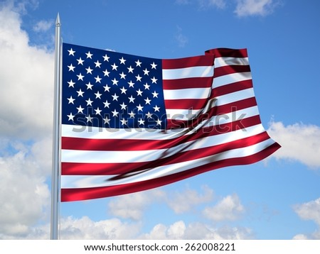 USA 3d flag floating in the wind with a blue sky in the background - stock photo