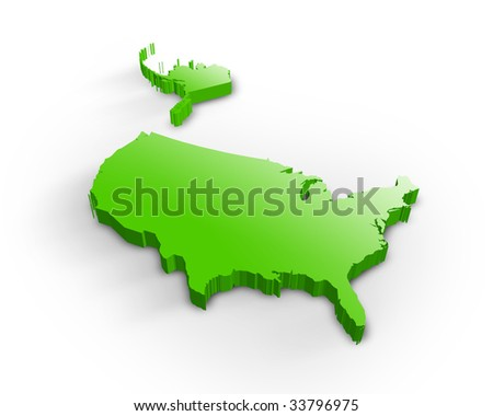 Usa 3d map - stock photo