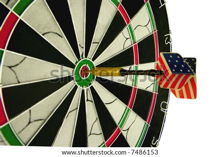 Usa dart hitting the bulls eye on target