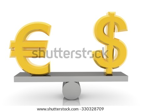 USA dollar and Euro signs on seesaw on white - stock photo